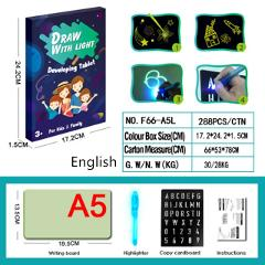 Draw with Light In Dark A3 Luminous LED Children Toys Tablet Magic Drawing Board Set Fluorescent Pen Educational Noctilucent Kid