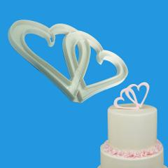 1pc Wedding Double Heart Love Fondant Mold Plastic Cookie Cutter DIY Cake Baking Mold Pastry Cake Decorating Tools