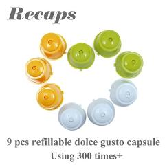 RECAPS 9pcs/pack Refillable Reusable Coffee Capsule Pod Refilling for Nescafe Dolce Gusto Machines Makers Brewer BPA Free