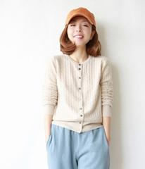 YUNSHUCLOSET 2017 Winter Women's Knitted Cashmere Wool Curling Crewneck cardigan Solid color Clothes cardigan Free Shipping