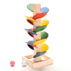 Children DIY Wooden Toys Colorful Building Blocks Tree Marble Ball Run Track Toys Kids Wood Game Toy Learning Educational Toy