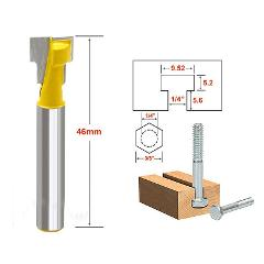 3/8'' T-Slot Cutter 1/4'' Shank Steel Handle Milling Woodworking Router Bit