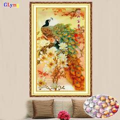 GLymg Diy Peacock Embroidery Crystal Bright Round Drill Diamond Painting Cross Stitch Vertical Picture Rhinestones Home Decor