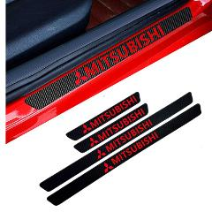 4PCS Car Styling Carbon Fiber Door Sill Protector Stickers for Mitsubishi asx lancer pajero 4 outlander 3 xl l200