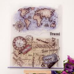 1 Pcs Kawaii Travel Around The Earth Transparent Clear Stamps for Scrapbooking DIY Photo Album Embossing Folder Paper Template