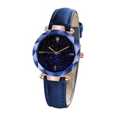 Ladies Wrist Watch montre femme 2019 Simple And Stylish Luxurious Starry Dial Convex Mirror Leather Strap Watch gifts for women