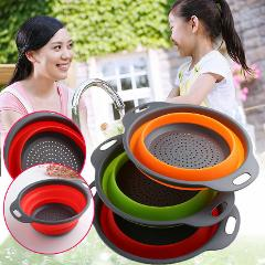 3Colors Strainer Collapsible Drainer With Handle Kitchen Tool Foldable Silicone Colander Fruit Vegetable Washing Basket Strainer
