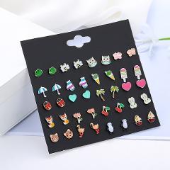 LUXSHINE 20 Pairs/lot Kids Stud Earring Set for Girls Cute Fruit Animal Ear Studs Owl Mushroom Leaf Heart Ladybug Apple Jewelry