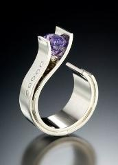 Elegant Simple Modern Purple Crystal Zircon Curved Ring for Women Bride Party Gift Bijoux Engagement Wedding Jewelry