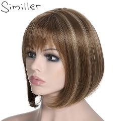 Similler Women Yaki Straight Short Bob Afro Wigs With Flat Bangs Highlights Synthetic Hair