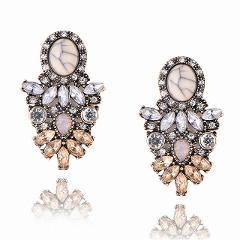 New Women's Fashion Crystal  Earrings Rhinestone RED / Pink Glass Black Resin Sweet Metal Leaf Ear Earrings For Girl