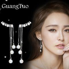 EK110 New Fashion Hyperbole Temperament  Elegant Long Drop Earrings for Women Female Tassel Simulated Pearl Pendant Earrings