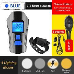 4 Mode USB Bicycle Light Lamp & Bike Computer 6 Mode Horn Flashlight Cycle Bike Speedometer Led Front Lights Cycling Headlight