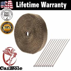 CARBOLE 15cm Titanium Exhaust/Header Heat Wrap Heat Shield Tape with Stainless Ties for Motorcycle High Temperature Resistance
