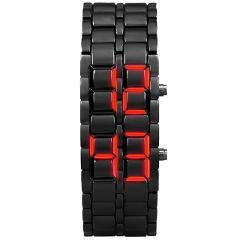 New LED Digital Watch Iron Samurai Metal Bracelet Watch LED Digital Watches Hour Men Women Wild Student Party Reloj caliente 03*