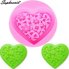 Sophronia M505 Retro Love Flowers Picture Frame  Silicone Mold Fimo Clay Candy Molds Fondant Cake Decorating Tools 5.6*5.6*0.8CM