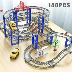 80-140pcs Electric Variety Rail Car Assemble Track Children DIY Toys Many Different Ways To Play Climbing Through Tunnel
