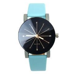 1PC Frauen Quarz Clock Dial Leder Armbanduhr Runde Sache Damen Armbanduhren