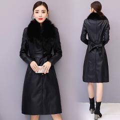 2019 Winter Commute Long Sleeve Elegant Slim Leather Jacket Female Clothing Chaquetas Mujer Manteau Femme Hiver Coat Women