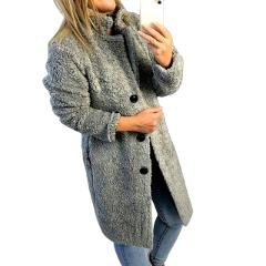 HEFLASHOR Women's Plush coat autumn winter Women Button Jacket Casual Warm turndown collar fur Outwear Mid-Length Woolen jackets