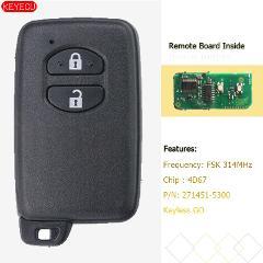 KEYECU Smart Key 2 Button FSK 314MHz 4D67 for Toyota Prius Aqua Corolla Axio Vitz - P/N: 271451-5300 Black
