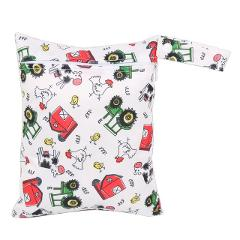 Free Shipping 1pc 20*25cm Wet Bag Dry Bag Baby Single Zippered Printed Waterproof Reusable Wet Bag Cover Insert Nappy Wet Bag