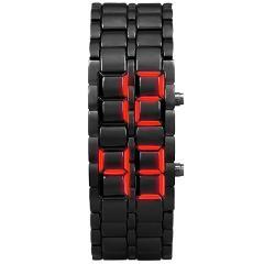 New LED Digital Watch Iron Samurai Metal Bracelet Watch LED Digital Watches Hour Men Women Wild Student Party Reloj caliente 03*