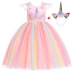 Girls Unicorn Tutu Dress Rainbow Princess Kids Party Dress Girls Christmas Halloween Pony Cosplay Costume 2019
