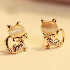 Korean fashion OL temperament cute cat's eye crystal flashing cute kitten earrings
