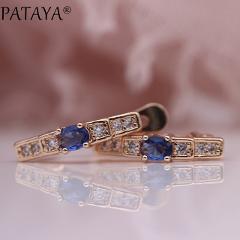 PATAYA New Oval Green Earrings Women Fashion Wedding Cute Fine Jewelry 585 Rose Gold Multicolor Natural Zircon Dangle Earrings