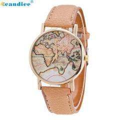 Fashion Women's World Map Leather Strap Analog Quartz Wrist Watch Casual Women Ladies Dress Watches Female Clock dropshipping