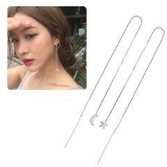 Shining Chain Star Crescent Moon Drop Dangle Earrings Rhinestone Silver Drop Earrings Crystal For Women Dangle Wedding Jewelry