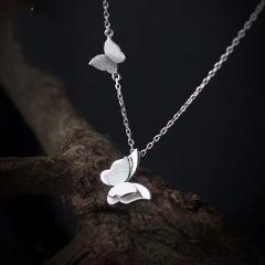 SMJEL Crystal Butterfly Statement Necklaces Pendants Woman Chokers Collar Silver Chain Cz Butterfly Necklace Chunky Jewelry Gift