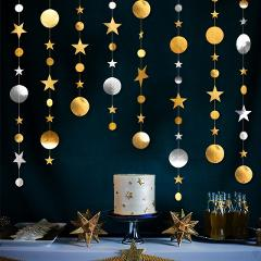 4m Twinkle Star Round Paper Garland Banner Baby Shower Birthday Party Decorations Bachelorette Party Bride To Be Wedding Decor