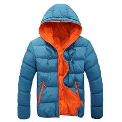 Jodimitty Men's Coat Winter Color Block Zipper Hooded Jacket Cotton Padded Coat Slim Fit Fashion Thicken Warm Outwear Tracksuit