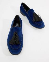 ASOS DESIGN loafers in navy velvet with tassel detail