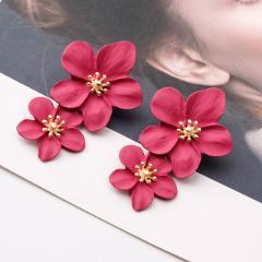 Multicolor Double Layer Flower Earrings for Women Wedding Party Boho Jewelry Statement Drop Big Petal Earrings Boucle D'oreille