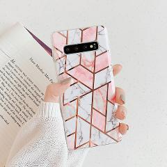 N1986N Phone Case For Samsung Galaxy S10 Plus S10E A50 A70 Note 10 Pro Luxury Geometric Marble Texture Electroplated IMD Case