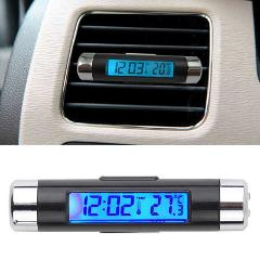 NS Modify 2in1 Car Digital LCD Temperature Thermometer Clock Calendar Automotive Blue Backlight Clock With Clip