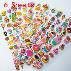 6 sheets Lovely Cartoon Candy Cakes Sticker dimensional 3D cartoon PVC bubble stickers girls/boys birthday gift children toys