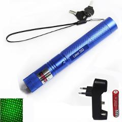Hunting 10000m 532nm Green Laser Sight laser pointer hight Powerful Adjustable Focus Lazer with laser 303+charger+18650 Battery