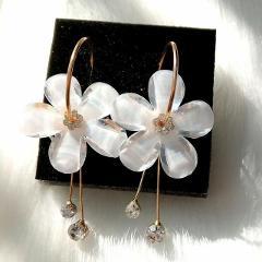 New Korean 6 Petal Acrylic Zircon Tassel Earrings Brincos OorbellenTransparent Earrings For Women Earrings  Wholesale
