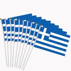 14x21cm 10pcs The Greek flag hand waving flags with Plastic Flagpoles  NC016