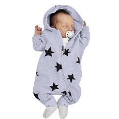 Newborn Infant Baby Girls Boys Stars Print Hooded Zipper Romper Jumpsuit Outfits Spring Brand New Fashion Newborn Ropa interior